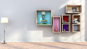 Wooden shelf with vases, books and lamp Royalty Free Stock Photo