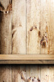 Wooden shelf and wall Stock Photo