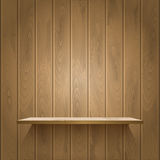 Wooden shelf on the wall Stock Photos