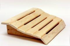 Wooden shelf on white Stock Photo