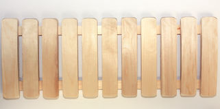 Wooden shelf on white Stock Image