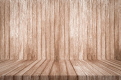 Wooden shelf on wood background texture. Stock Images