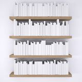 Wooden shelfs with books on white wall background Royalty Free Stock Photography