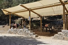 Shelter for Donkey for the trip to Cave of Zeus in Dikti mountains from Crete island of Greece. Wooden Shelter for Donkey for the trip to Cave of Zeus in Dikti royalty free stock images