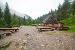 Wooden shelter in the forest of Tatra mountains Royalty Free Stock Photo