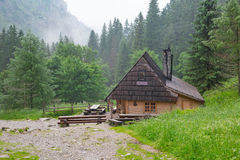 Wooden shelter in the forest of Tatra mountains Royalty Free Stock Photos