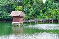 Wooden shelter and jetty Royalty Free Stock Photography