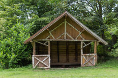 Wooden shelter in a park Royalty Free Stock Images