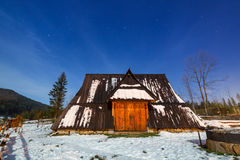 Wooden shelter in Tatra mountains at night Royalty Free Stock Photography