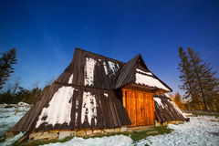 Wooden shelter in Tatra mountains at night Royalty Free Stock Photo