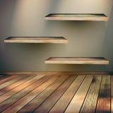Wooden shelves background. EPS 10 Stock Photos