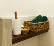 Wooden Shelves in Bathroom Royalty Free Stock Photo