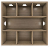 Wooden shelves with built-in lights Royalty Free Stock Photography