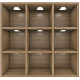 Wooden shelves with built-in lights Stock Photography
