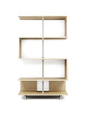 Wooden shelves on a chrome rack. 3d. Stock Photography