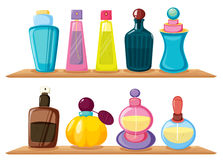 Wooden shelves with different perfumes Royalty Free Stock Photo