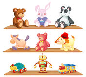 Wooden shelves with different toys. Illustration of the wooden shelves with different toys on a white background Royalty Free Stock Photography