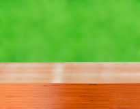 Wooden shelves with fresh green small plants and brick background Royalty Free Stock Photo