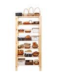 Wooden shelves full of basket Stock Images