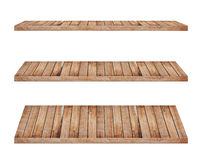 Wooden shelves isolated on white background Royalty Free Stock Image