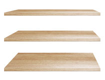 Wooden shelves isolated on white background. Objects with Clipping Paths for design work Royalty Free Stock Photo