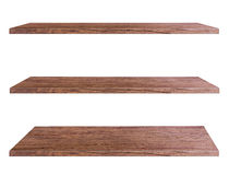 Wooden shelves isolated on white background. Objects with Clipping Paths for design work Stock Images