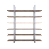 Wooden shelves with metal stands Stock Image