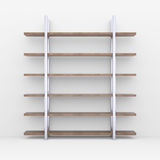 Wooden shelves with metal stands Stock Images