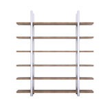 Wooden shelves with metal stands Royalty Free Stock Photo