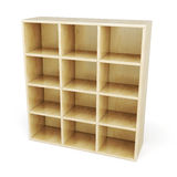 Wooden shelves with sections Stock Photo