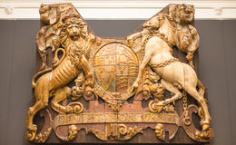 Wooden shield Dieu et mon Droit Royalty Free Stock Photo
