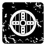 Wooden shield icon, grunge style stock illustration