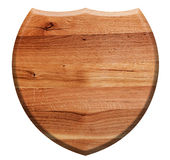 Wooden shield isolated on white. Natural oak wood Royalty Free Stock Image