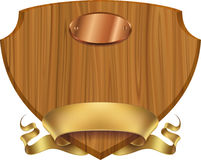 Wooden shield label vector illustration