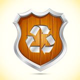 Wooden Shield for Recycle Royalty Free Stock Image