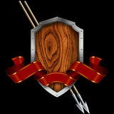 Wooden shield with steel riveted border Stock Photos