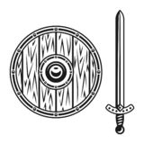 Wooden shield and sword set of vector objects vector illustration
