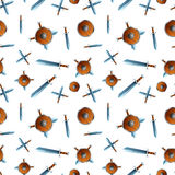 Wooden shield and swords on white, seamless pattern Stock Images