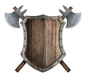 Wooden shield and two crossed battle axes