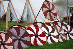 Wooden shields on green grass. Stock Photo