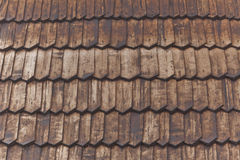 Wooden shingle roof. Background on church in Carpathian Mountains Royalty Free Stock Images