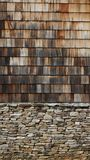 Wooden Shingles. With stones to make a nice background Stock Photography
