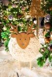 Wooden ship decoration under the Christmas tree. Winter holiday season decoration.  royalty free stock photo