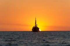 Wooden Ship Fantasy Ocean Sunset Stock Photo