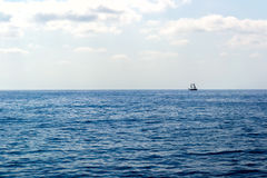 Wooden ship in the Mediterranean sea, Turkey. Wooden ship sailing in the Mediterranean sea of Turkey Royalty Free Stock Photo