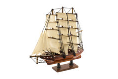Wooden ship model, isolated on white background Royalty Free Stock Images