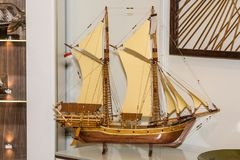 Wooden ship model. Small wooden model of ship Royalty Free Stock Images