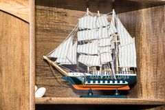 Wooden ship model. Small wooden model of ship Stock Images