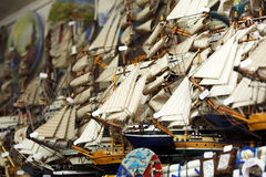 Wooden Ship Models Shop Royalty Free Stock Images