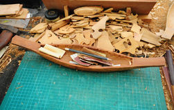 Wooden ship models royalty free stock image